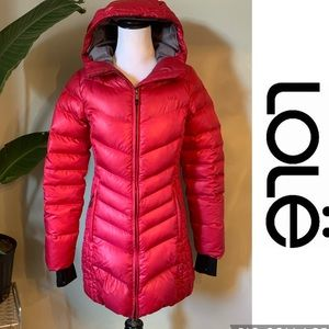 Lole Down Filled Puffer Parka Jacket Coat Pink size Small